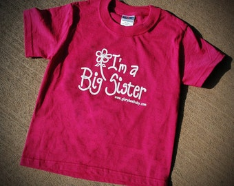 I'm a Big Sister T-Shirt, hot pink tee, little girl tee shirt, big sister, design by Carolyn Altman