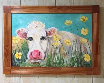 Farm House Momma Cow in Buttercup Field Framed Cow PaintingFarm House Momma Cow in Buttercup Field Framed Cow Painting