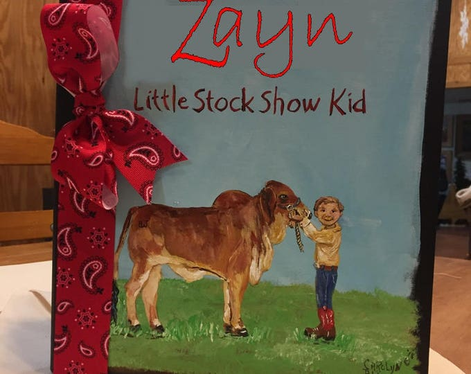 Stock Show Kid Baby Memory Book, Personalized Baby Keepsake, Hand Painted and Personalized Book Cover