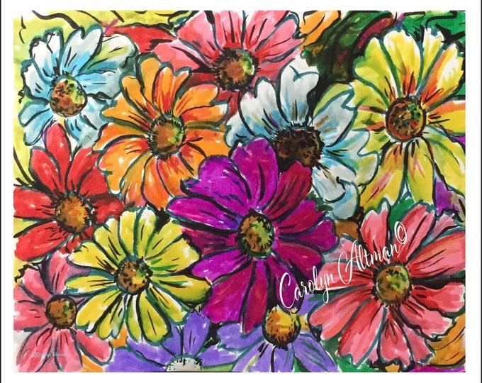 Zinnia Painting Art Print, Bright Zinnias painted in watercolor, Carolyn Altman Painting, reds, oranges, pinks, purple colors
