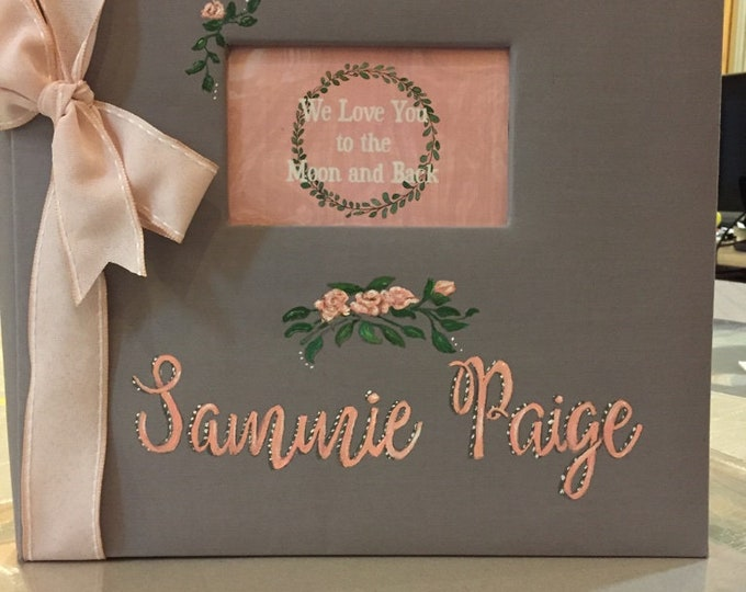Love You to the Moon Baby Scrapbook Memory Book, Pink flowers and Green Sage Wreath |Book Cover is Personalized and Hand Painted