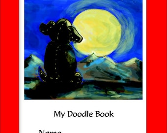 Puppy and the Moon Doodle Book | A Glory Bee Baby Doodle Book | Three Sizes | Personalize cover | Spiral Bound