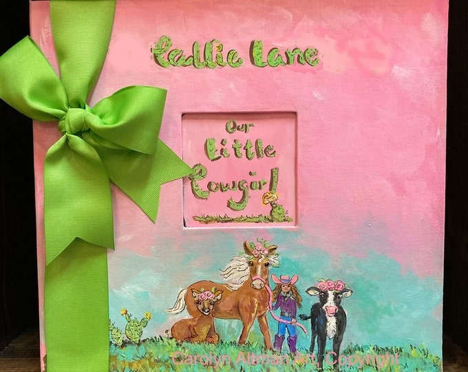 A Little Cowgirl's Life Baby Memory Book | Painted and Personalized Cover | Made to Order