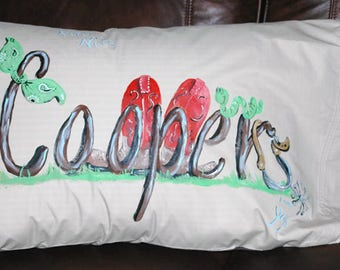 Western Boots Personalized Hand Painted Tan Pillowcase   Name Painted Pillowcase
