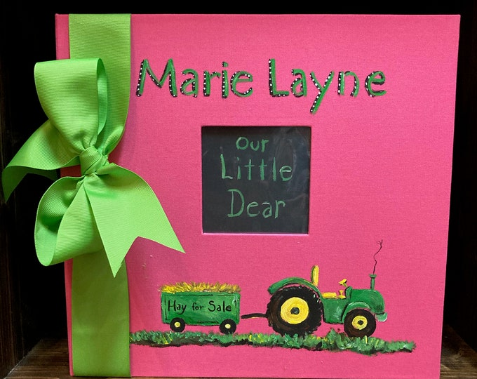 Little Farm Girl Baby Memory Book   Hot Pink Hand Painted and Personalized Cover   Farm Baby Keepsake Book
