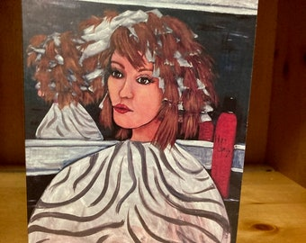 Take Time to Process Fine Art Prints, Greeting Cards and Blank Note Cards   Beauty Shop Girl Getting Hair Colored Art by Carolyn Altman Art