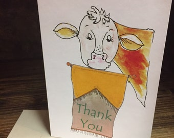 Cute Cow Thank You Greeting Card | Stock Show Thank You Card