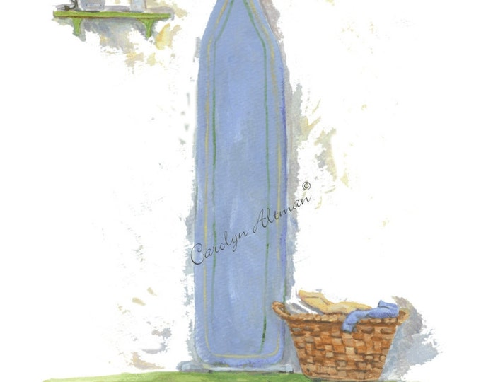 A Women's Work is Never Done a laundry room art print  8x10 painting of an ironing board, iron and clothes basket by Carolyn Altman