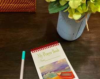 My Prayer Book Note Pads | My Doodle Book | 3 sizes | Personalize | Spiral Bound Note Pad | Beach Scene Prayer Book