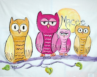 Little Owl Personalized Hand Painted Pillowcase
