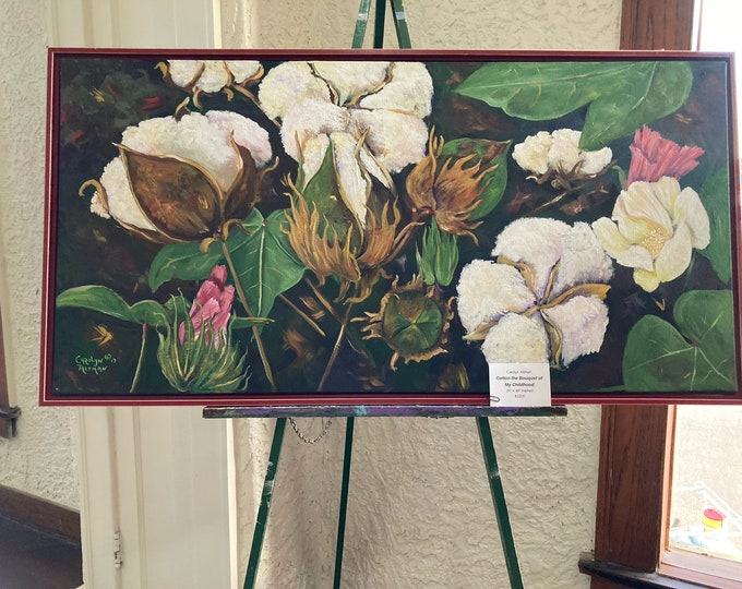 Cotton Painting, a Large Original Painting of the Stages of Cotton