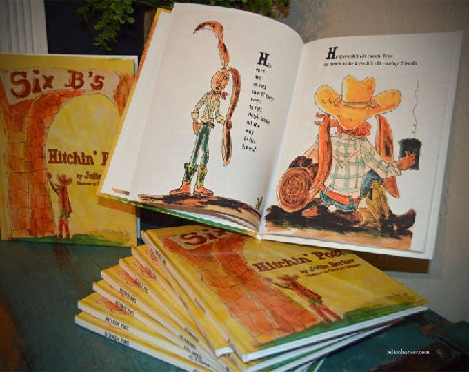 Hitchin' Post western Children's Story Book, a cute story of a jack rabbit with real long ears that lives on a ranch and works with cowboys