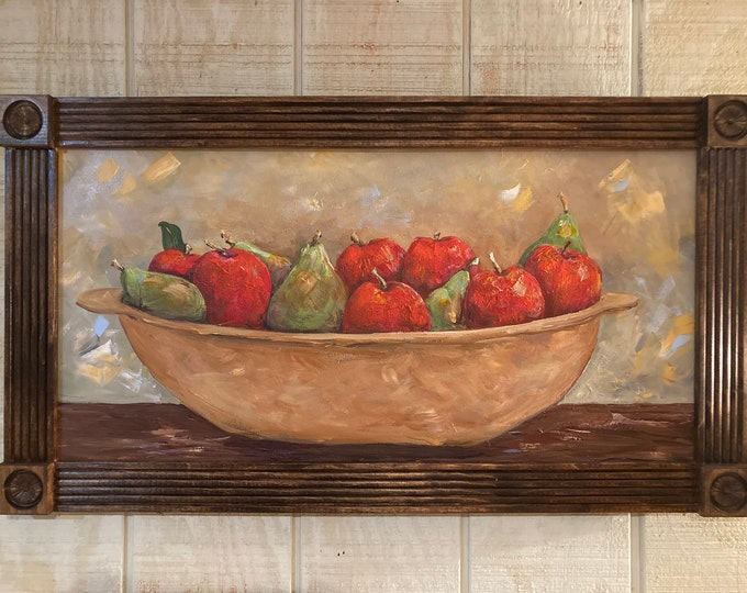 Apples and Pears in a Wooden Bowl Acrylic Painting Custom Framed | Red Apples | Bartlett Pears