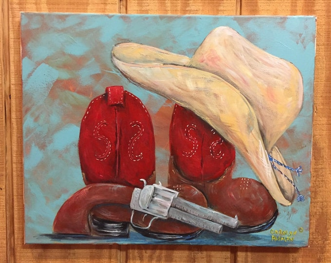 Little Cowboy Duds Original Painting | Western Art Prints | Pistol, Red top Boots and Cowboy Hat Painting, Art Prints and Note Cards