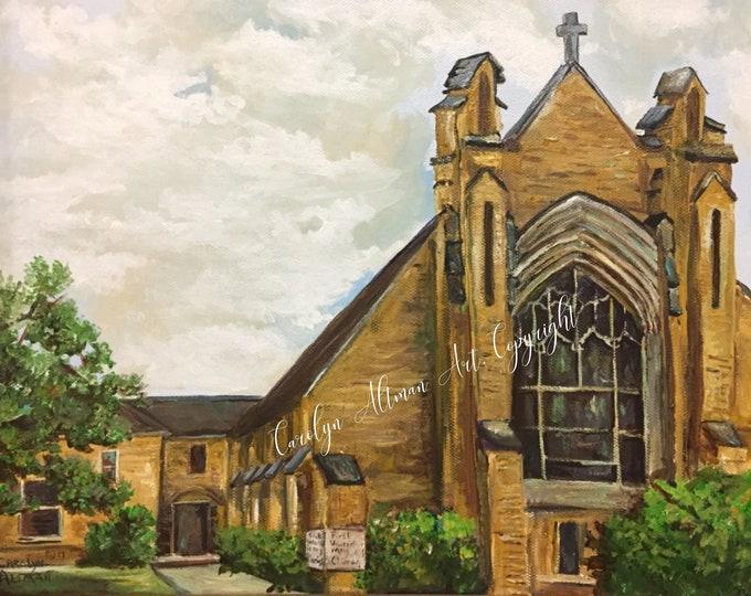 First United Methodist Church in Vernon Texas Framed Art Print | FUMC Art Greeting Cards Blank Inside