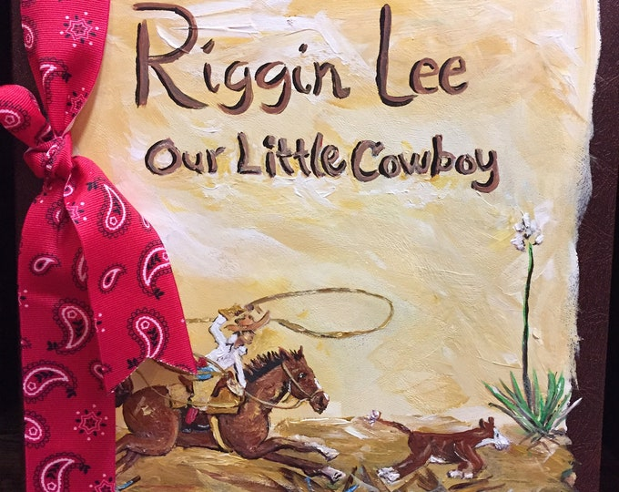 Little Cowboy Roper Baby Memory Book   Hand Painted and Personalized Cover Western Baby Memory Album   Horse and Cowboy Baby Book Memories..