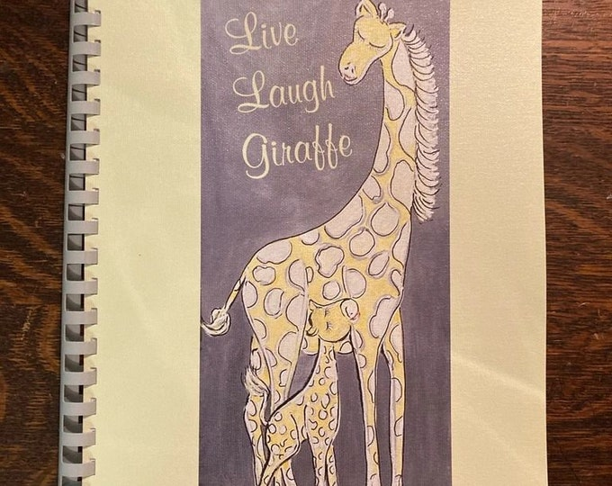 Live Laugh Giraffe Soft Canvas Cover Baby Memory Book | Add Personalized Name | Plastic Comb Bound | Pages Lay flat |8.5x11 Inch Size