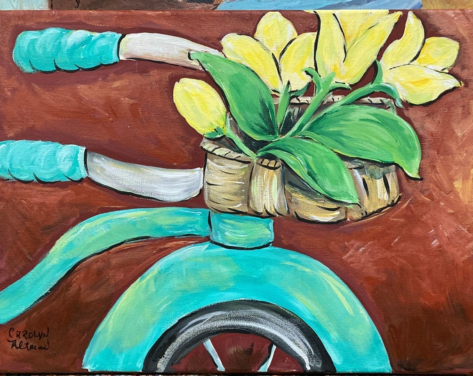 """Yellow Tulips on a Turquoise Bicycle Painting and Blank Note Cards   Artist Carolyn Altman Acrylic Original Stretched Canvas 16""""x20"""""""