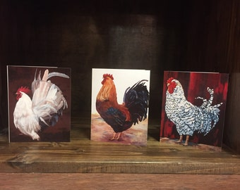 Dominique, Marans and White Leghorn Rooster Fine Art Prints and Blank Note Cards Great Farm House Decor Art Prints
