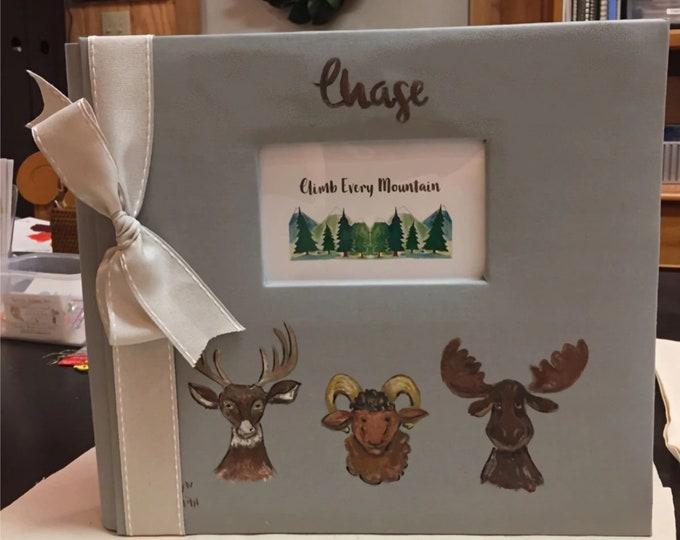 Woodlands Adventure Baby Memory Book a Mountain Theme Baby Keepsake Book| A Big Book 12 x 12 inch Size