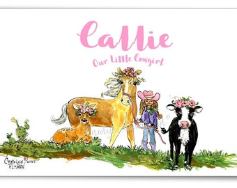 """A Little Cowgirl's Life Personalized Art Print 