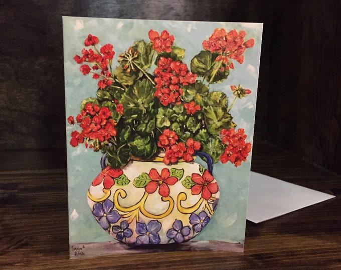 Geranium in a Flower Pot Painting | Framed Original, Unframed Art Prints and Note Cards |  Carolyn Altman, Artist | Bright Color Floral Art
