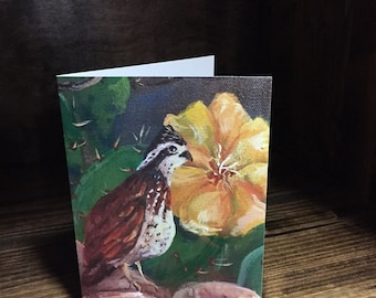 Bobwhite Quail and Prickly Pear Cactus in Bloom Fine Art Prints, Note Cards | Bright Yellow Bloom Cactus