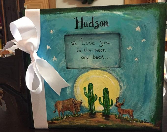 Love You to the Moon Baby Keepsake Scrapbook | Buffalo Deer Moon and Cactus Baby Book