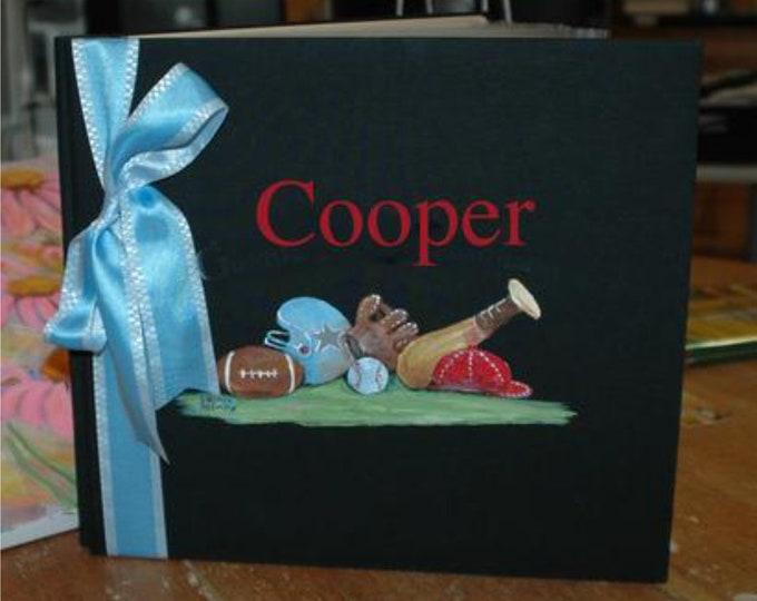 Sports Designs Baby Memory Book | Football Baseball Designed Baby Keepsake Book