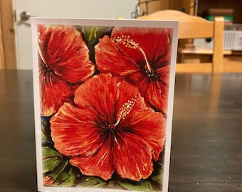 """Hibiscus Flower Note Cards 