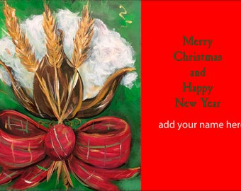 Cotton and Wheat Christmas Card Design Christmas Cards