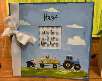 Oh Boy! It's Our Little Farmer Baby Memory Book | Blue and White Buffalo Check and Cute Farm Animals