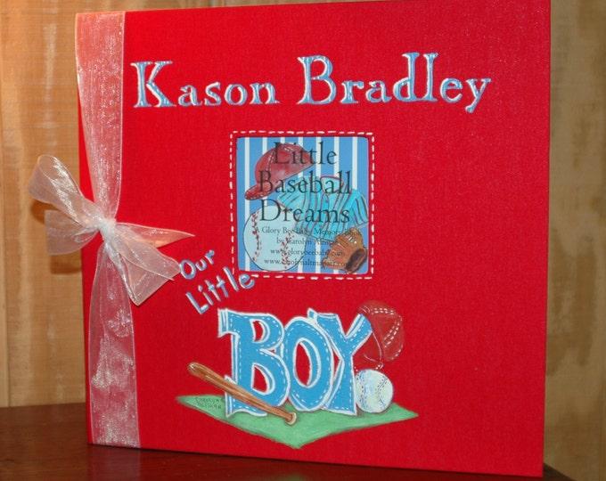 Baseball Keepsake Book   Little Baseball Dreams Baby Memory Book