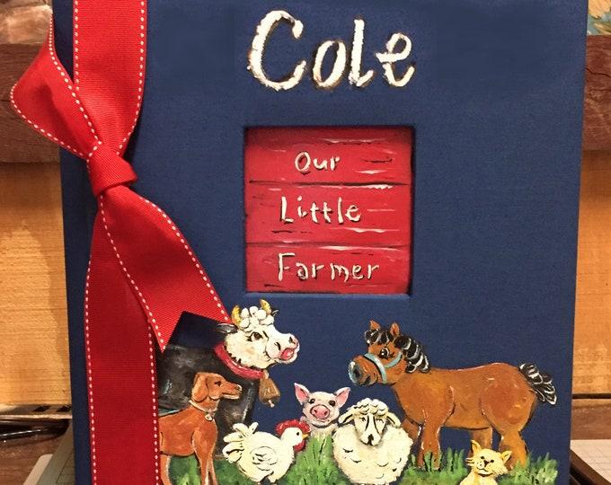 Farm Animal Baby Memory Book | Scrapbook Baby Book | Cow Horse Chicken Pig Baby Keepsake Personalized Book