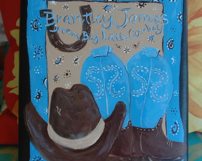 Dream Big Little Cowboy Baby Memory Book