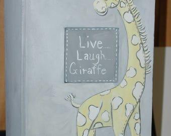 Live, Laugh, Giraffe Photo Album in Yellow and Gray