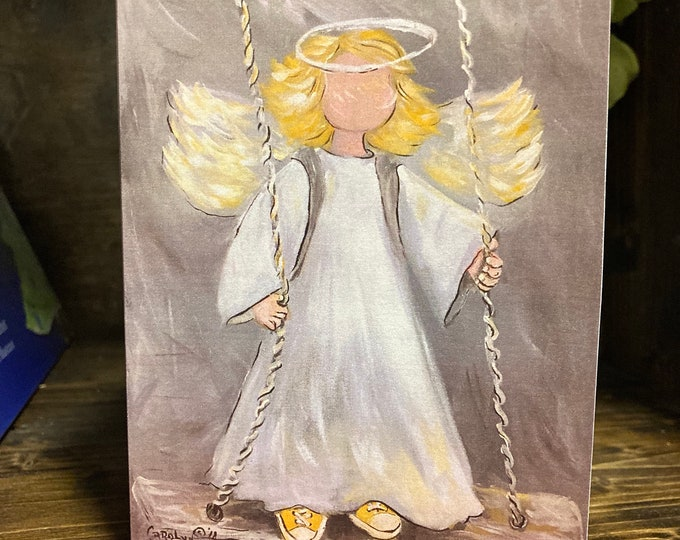 Angel on the Playground Swing Blank Note Cards, Angel Art Prints
