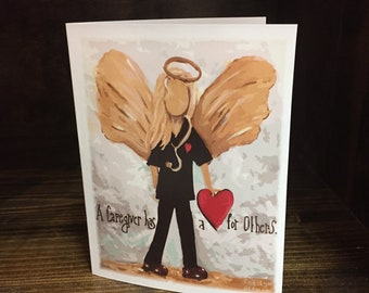 Blonde Hair Caregiver Angel | Black Scrubs Note Cards and Angel Art Prints | Carolyn Altman Artist | Caregivers have a Heart for Caring Art.