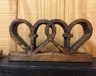 Entwined Wooden Hearts | Unique Double Hearts and Crosses