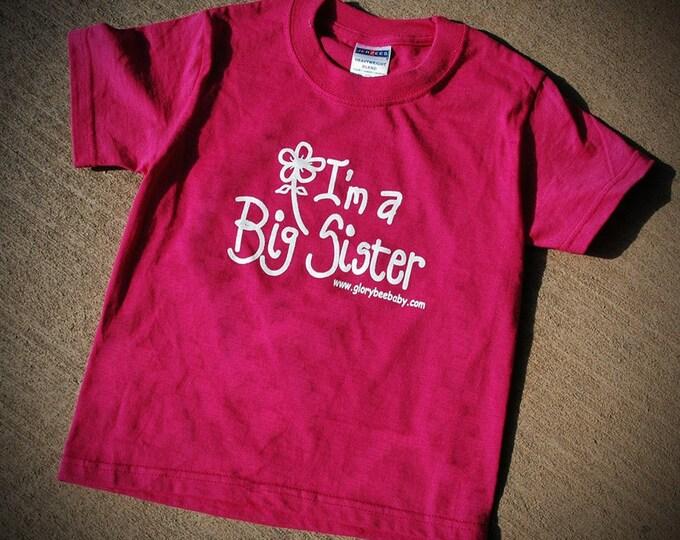 Big Sister T-Shirt, hot pink tee, little girl tee shirt, big sister, design by Carolyn Altman