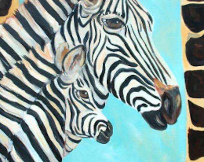 Zebra and Baby Painting | Zebra Acrylic Painting