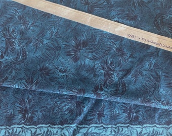 Blue Tropical Cotton Fabric 1.5 Yards