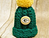 Green Bay Packers Inspired Hat Ornament Beanie Pom Pom
