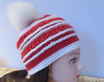 fb7ac7fa077 Wisconsin Red and White Beanie with Removable Faux Fur Pom Pom