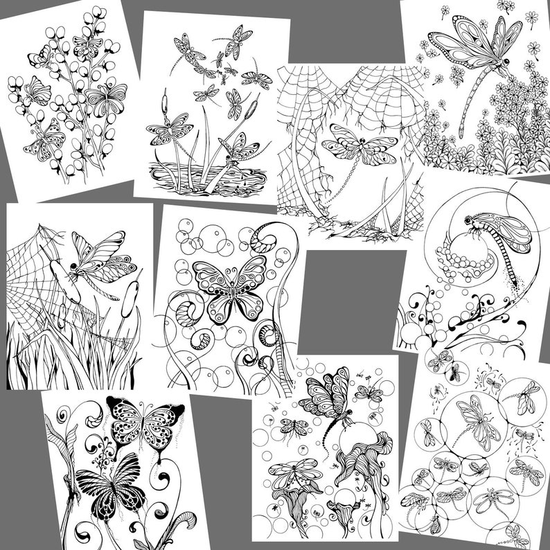 Whimsical Butterflies And Dragonflies Coloring Pages On Etsy