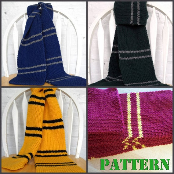 Hogwarts Inspired House Scarf Pattern Knitting Pattern Etsy