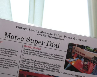 Morse Super Dial Sewing Machine FLASHCARDS Instructions/Oiling/Part#'s/Wipes Clean/Laminated