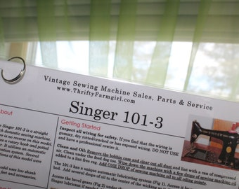 Singer 101-3 Sewing Machine FLASHCARDS Instructions/Oiling/Part#'s/Wipes Clean/Laminated
