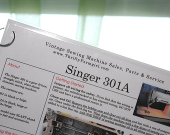 Singer 301A Sewing Machine FLASHCARDS Instructions/Oiling/Part#'s/Wipes Clean/Laminated