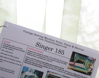 Singer 185 Sewing Machine FLASHCARDS Instructions/Oiling/Part#'s/Wipes Clean/Laminated
